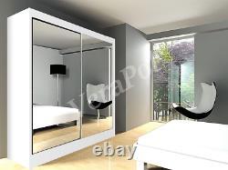 100cm or 200cm WARDROBE With MIRROR, 2 sliding doors bedroom hallway furniture