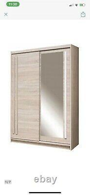 2 Door Mirrored Sliding Wardrobe. OAK SONOMA. EF2-150. EFFECT. BRAND NEW