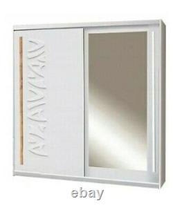 2 Door Mirrored Sliding Wardrobe. WHITE/MIRROR. TK1-150. TOKYO. BRAND NEW
