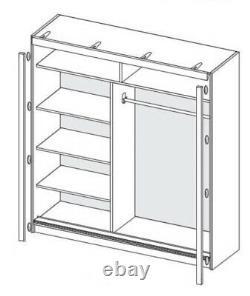 2 Sliding Door Wardrobe-White/White Gloss/Mirror-200cm. DN1-200. DOMINO. NEW