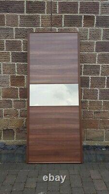2x 762mm Spacepro walnut & tinted mirror sliding wardrobe doors with tracking