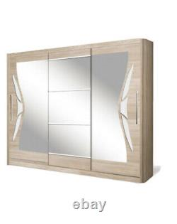 3 Door Sliding Wardrobe. Oak Sonoma/White Gloss/Mirror. DOME/DO8-24. BRAND NEW