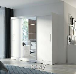 3 Sliding Mirrored Door Wardrobe 235 cm White Black Grey Dark Wood Light Wood