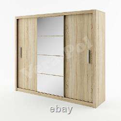 3 door WARDROBE 250x215x60 cm, sliding door, mirror oak effect BEDROOM FURNITURE