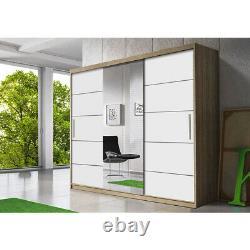 3 sliding doors mirrored warrobe ALBANIA 250 cm wide. Perfect interior