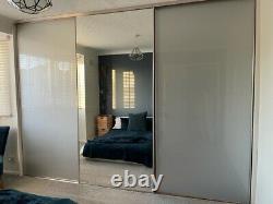 3x Doors 8 Foot High 1 mirror 2 Glass Grey sliding wardrobe doors Tracks