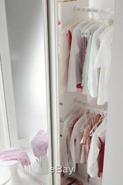 4 Mirror Sliding Wardrobe Doors, Tracks, White Frame, Stanley Design