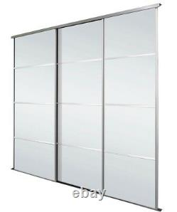 4 Panel Silver Mirrored Sliding Wardrobe Doors