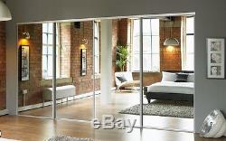 4 Sliding Mirror Wardrobe Doors Made to Measure Pre-assembled with tracks
