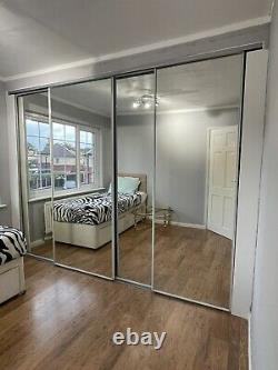 4 mirrored sliding Wardrobe doors used With Metal Frame 2 Doors 220cmx92cm And