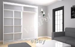 6 COLOURS WARDROBE sliding doors shelves MIRROR LACOBEL bedroom furniture 200cm