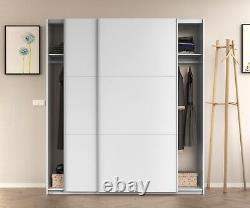 ARC 2 Door Sliding Wardrobe 150cm-180cm Large White Smoothglide Optional Drawer