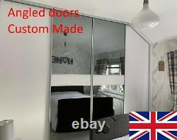 Angled glass or wood Sliding Wardrobe Doors Made to Measure, Easy Glide