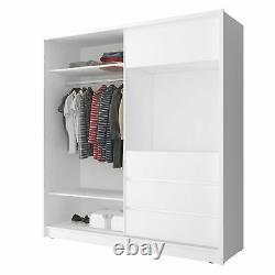 BMF'TV200' Modern Wardrobe 200CM Wide Sliding Mirrored Door TV Space WHITE