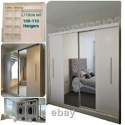 BRAND NEW NAPOLI 203cm Sliding Doors Wardobe with Mirror White