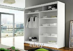 BRAVA 3- NEW WARDROBE WITH SLIDING DOORS and MIRRORS, WHITE, FAST DELIVERY