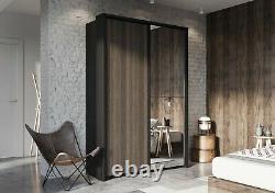Bedroom Mirror Sliding Door Wardrobe ARTI 21 160cm in Wenge Mali&Black Matt