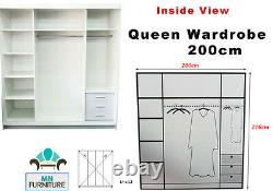 Bedroom Queen Double Sliding Door Wardrobe with LED Light Two Sizes and Colours