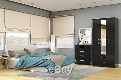 Birlea Lynx High Gloss All Black Mirror 2 door Sliding Slider wardrobe