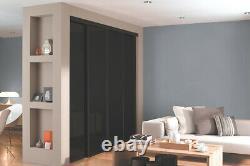 Black Glass Mirror Spacepro CLASSIC Sliding Wardrobe Doors & tracks (All sizes)
