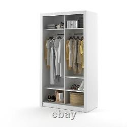 Brand New Modern Bedroom Mirror Sliding Door Wardrobe ARTI 19 120cm White Matt