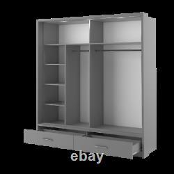 Brand New Modern Bedroom Mirror Sliding Door Wardrobe ARTI 5 200cm in Grey Matt