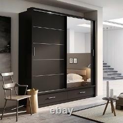 Brand New Modern Bedroom Mirror Sliding Door Wardrobe ARTI 5 200cm in Matt Black