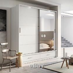 Brand New Modern Bedroom Mirror Sliding Door Wardrobe ARTI 5 200cm in Matt White