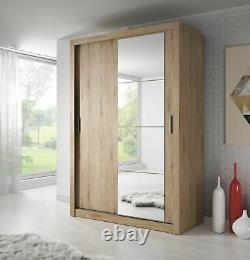 Brand New Modern Bedroom Mirror Sliding Door Wardrobe ARTI 6 120cm Oak Shetland