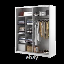 Brand New Modern Bedroom Mirror Sliding Door Wardrobe ARTI 8 203cm in White Matt