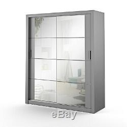 Brand New Modern Bedroom Sliding Door Mirror Wardrobe Arti 3 181cm in Grey