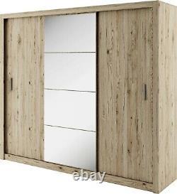 Brand New Modern Wardrobe Sliding Door with Mirror IDEA 01 in San Remo Oak 250cm