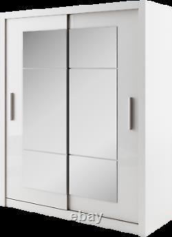 Brand New Modern Wardrobe Sliding Door with Mirror IDEA 02 in White 180cm