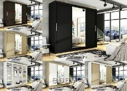 Brand New Wardrobe NOTSA 1 Sliding Doors Mirror Shelves Hanging Rail 250 cm