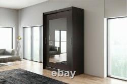 Brand New Wardrobe Sliding Door Modern Bedroom Storage BLACK Closet 150cm