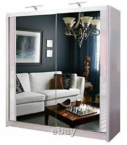 Chicago Modern Double Mirror Sliding Doors White Wardrobe Available in 5 Sizes