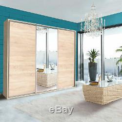 Extra Large Shelves Wardrobe 4 Colours Sliding Door Mirror Rail Closet 255cm NEW