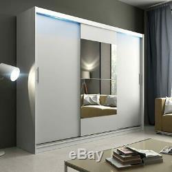 Extra Large Wardrobe Shelves Sliding Door Mirror Rail Cabinet Closet 250cm NEW