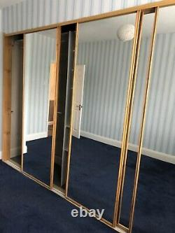 Framed Mirror 5 Sliding Wardrobe Door 220 x 67 cm Beach