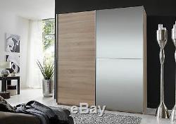 German 2 Door 180cm Sliding Slider Wardrobe Oak with Mirrors