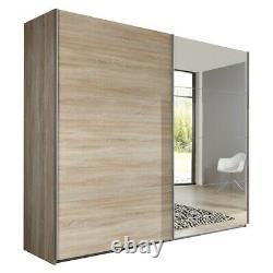 German Ernie Oak 225cm Sliding Mirror Door Wardrobe Extra Height