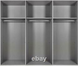 German Ernie White Concrete Grey Industrial 3 Door Mirror 270cm Sliding Wardrobe