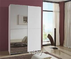 German Queen White 2 Door 135cm Sliding Slider 2 Door Wardrobe