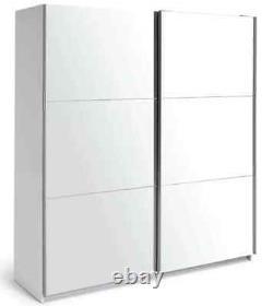 Habitat Holsted Large Sliding Wardrobe White Frame Double Mirror Doors