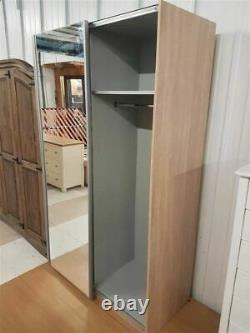 Hygena Bergen 2 Door Small Sliding Wardrobe Oak & Mirror