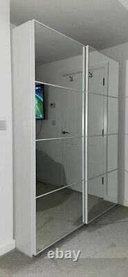 IKEA PAX Wardrobe Wood Sliding Doors Mirror 200x201cm Hanging Shelves Drawers