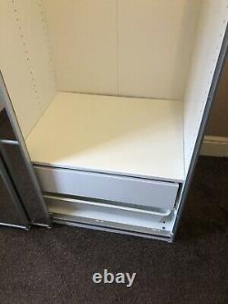 IKEA Pax double wardrobe with sliding mirrored doors White Panelled