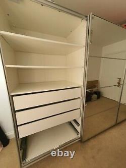 Ikea PAX Custom Sliding Door Wardrobes Mirror/Grey x2 (1x 2m & 1x 1.5m wide)