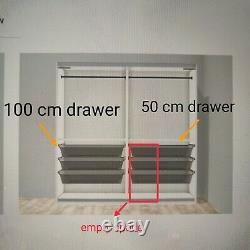 Ikea Pax Wardrobe Mirror & White Glass Sliding Doors, Frames, Rails, Drawers
