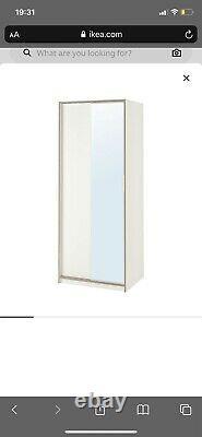 Ikea Trysil Mirror Wardrobe with sliding doors and shelves White